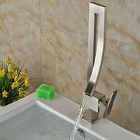 Wholesale Bathroom Vanity Handles - Wholesale And Retail Modern Elegant Brushed Nickel Bathroom Basin Faucet Single Handle Hole Vessel Vanity Sink Mixer Tap