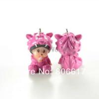 Wholesale Dragon Coin Charm - Free Shipping 10 Pcs Cute Little Monkey MONCHHICHI in Red Dragon Pajamas Resin Charm Pendants 33x20mm(W03358 X 1)