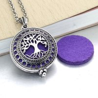 Wholesale Silver Aroma Pendant - 1pcs Aroma Diffuser Necklace Open Antique Vintage Lockets Pendant Perfume Essential Oil Aromatherapy Locket Necklace With Pads