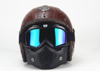 Wholesale Leather Motorcycle Helmet Xl - 1PCS PU Leather Harley Helmets 3 4 Motorcycle Chopper Bike helmet open face vintage motorcycle helmet with goggle mask
