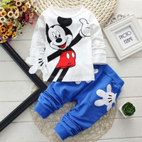 Wholesale Track Suit Casual Shirts - Minnie Mouse Sets For Baby Boys Girls Casual Outfits Clothing Mickey Cartoon Kids Print T Shirts+Sport Pants Trousers 2PC Track Suit Costume