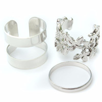 Wholesale New Fashion Jewelry Sets Fabulous Gold And Silver Plated Great Leaves Three Pieces Metal Joint Rings For Women Accessories