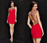 Wholesale Short Heavy Beaded Dresses - Gorgeous Angela And Alison Red Cocktail Dress Jewel Cap Sleeve Heavy Beaded Sheath Short Cocktail Party Dresses