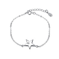 Unique Romantic 925 Sterling Silver Dazzling Star Zircon Lady Pulsera Spring-ring-cloches Channel Setting Mujeres Wedding Girl Friends Regalos