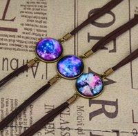 Wholesale Mixed Material Bracelet - Stylish Vintage starry Moon Galaxy Style Bracelet Jewelry Fashion Glass Colorful Alloy Material Bangle Bracelet 12pcs sale Mix Style