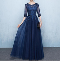 Wholesale Cheap Mother - Elegant Navy Blue Mother of the Bride Dresses Half Sleeves Sheer with Applique Lace-up Back Floor Length Mother's Gowns Cheap
