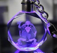 Wholesale Night Evolution - 50pcs Dragon Ball Evolution Cartoon Anime Action Figure Toys LED Crystal Keychain With Colorful Night Light Key Chain Ring Gift Box Packing