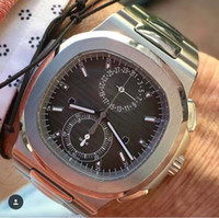 Wholesale black digits - 4 Colors Luxury High Quality Watch Stainless Steel 42mm autilus 5990 1A-001 half digits for 24 hours Automatic Mens Watches