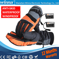 Wholesale Bicycle Winter Gloves Waterproof - Wholesale-FREE SHIPPING Winter Outdoor Fun & Sports Heated Glove Windstopper Waterproof Ski Cycling Warm Riding Motorcycle Bicycle