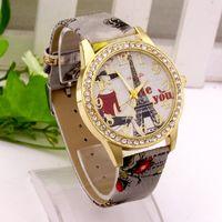 любовь часы наручные часы оптовых-Роскошный дизайн женщины горный хрусталь алмазы часы мода Эйфелева башня любовь вы печатаете искусственная кожа кварцевые случайные наручные часы платье женские часы