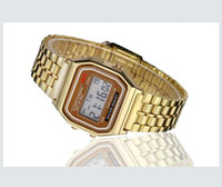 reloj de pulsera de oro vintage al por mayor-Nueva Moda Retro Vintage Gold Watches Hombres Electronic Digital Watch LED Light Dress Reloj de pulsera relogio masculino FYMHM102