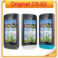 Wholesale Unlocked Cheap Bar Mobile - Original unlocked Nokia C5-03 Cheap Touch screen bar single sim refurbished Mobile Phone