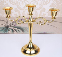Wholesale Wedding Cup Silver - Metal Candle Holders 5-arms 3-arms Candle Stand Wedding Decoration Candelabra Centerpiece Candlestick Silver Gold