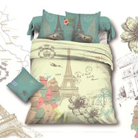 Wholesale Comforter Sets Queen Eiffel Tower - Wholesale-France Retro Style Paris Eiffel Tower Comforter Sets Queen Size Bedding Set Cotton Home Textile Bed Sheet Sets drap de lit