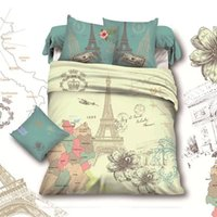 Wholesale-France Retro Style Paris Eiffelturm Tröster Sets Queen-Size-Bettwäsche-Set Baumwolle Heimtextilien Bettlaken Sets Drap de lit