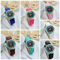 Wholesale Colorful Battery Pattern - Geneva Leather bands colorful face golden cases women ladies girls fashion Platinum sun pattern Watches dress watches