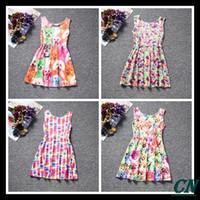 Wholesale Dress Cat For Girls - 2016 New girl dress kids casual vest dress for girls cat dog print baby girls dresses vestido baby dresses clothing girls party dress