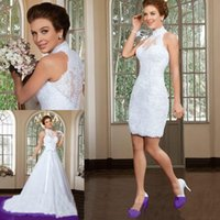 Wholesale Wedding Dress Detachable Halter Strap - 2016 Two Piece Wedding Ceremony Dresses 2 in 1 Stylish Short Sheath Lace Bridal Fancy Gowns with Long Detachable A-Line Train Skirt Vestidos