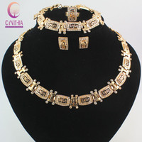 Wholesale totem plates set for sale - Group buy High quality Fashion Dubai k Gold Plated Totem Crystal Necklace Earrings Bracelet Ring Jewelry Women Dance party costume Jewelry Sets