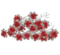 ingrosso rose diamanti-Exquisite Diamond Iron Rose U Forcella per capelli La sposa copricapo Fiore di cristallo rosa Wedding Party Nuziale Prom Star Hair Pin Roses Clips