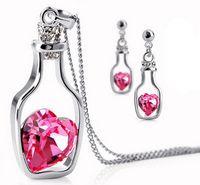Wholesale Swarovski Elements 925 - Fashion 925 Silver Necklaces Swarovski Elements Austrian Crystal plating platinum necklace pendant Love Heart Wishing Bottle necklaces