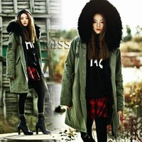 Wholesale Thick Faux Fur Hat - 2016 women's army green Large black faux fur hooded coat parkas outwear long detachable lining winter jacket for lady