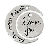 """Wholesale Message Back - Charm Pendants Moon Round Antique Silver Message""""I love you to the moon&Back""""Pattern 30mmx26mm,10 Sets 2015 new"""