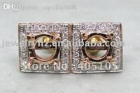 Wholesale 14k Gold Earring Setting Mountings - Wholesale-Unique Design 6.5x6.5mm Round Cut 14k Rose Gold & 0.36ct Diamond Semi Mount Earring Setting