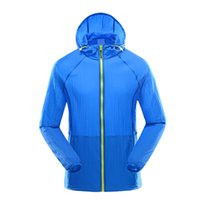 Wholesale Fitness Shells - Wholesale-Men Running Jackets Light Thin Hooded Sports Coats Sunscreen Breathable Soft Shell Outdoors Clothing Fitness Jogging Raincoat
