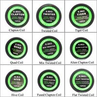 buharlaştırıcı sargılar toptan satış-9 Farklı Premade Sarma Direnci Bobin Alien Sigortalı Clapton Düz Mix Twisted Hive Quad Kaplan Bobinleri Buhar Telleri için RDA Buharlaştırıcı DHL Ücretsiz