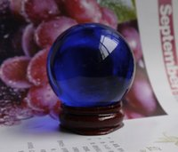 Wholesale Glossy Blue - 40MM+stand Natural Blue Obsidian Sphere Large Crystal Ball Healing Stone HOT