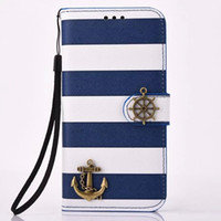 Wholesale Anchor Iphone Cases - Striped Design Pirate Card Slot Stand PU Leather Flip Protective Case with Anchor Helm for Samsung Galaxy S7 S7 edge
