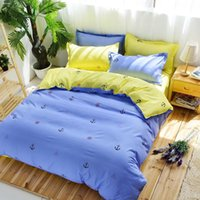 Atacado-Brand New Purple And Yellow Sailing Comforters Cute Printed Bedlinen Soft Cotton Bedding Set Twin Queen King