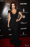 Wholesale Evening Dresses Kim Kardashian - 2016 free shipping high quality black Kim Kardashian Awards Cap Sleeves V Neck Lace Mermaid Celebrity evening prom Dresses