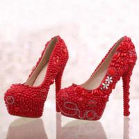 Wholesale True Pearls - True Love Pearl Wedding Shoes Pink Color Fashion Luxurious Bridal High Heels Wedding Ceremony Rhinestone Pumps Bridesmaid Shoes