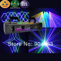 Wholesale Tunnel Laser Beam - Wholesale-DHL 700mW GBPY 4 lens 4 colors Beam laser stage DJ lighting four tunnel Head DMX (Green Blue Purple Yellow) party Disco Lights