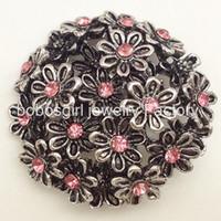 metal snap çiçek düğmeleri toptan satış-M1138 Çiçekler snap düğmesi metal yapış takı bilezik için OEM, ODM noosa takı yapımı tedarikçisi