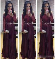Wholesale Sky Brazil - 2015 Hot Popular Brazil Long Sleeves Evening Dresses Burgundy Chiffon Sexy Bateau Prom Gowns Lace Appliques Arabic Vestidos De Festa