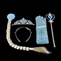 Wholesale People Clips - Frozen Anna Elsa Headbands 4pcs sets=Crown+ Wig+Wand + Gloves dress Hair Clips Hair Bows Christening Dresses Girls Dancewear1704070