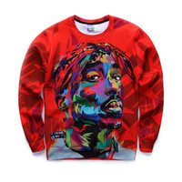 hoodie 3d toptan satış-2016 Yeni Erkekler Tişörtü 3D Harajuku 2Pac Tupac Biggie Amerikan gangster Rap Hoodies TUPAC SHAKUR CREWNECK Terlemeleri Kazak Tops