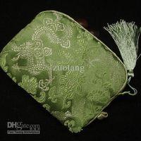 Wholesale Silk Pouches Zipper - Elegant Cotton filled Small Zipper Storage Bags Decorative Tassel Silk Fabric Compact Camera Packaging Pouch 10pcs lot