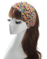Wholesale Crocheted Headwraps - top girls crochet headbands woman knot flower headwraps girl christmas elastic head bands Ladies fashion hair accessories headwear wholesale