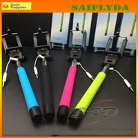 Wired Stainless Steel Mini Monopods wired Selfie Stick Extendable Handheld Monopod plug and play Cable Take Pole
