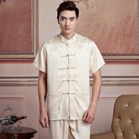 Wholesale Yellow Martial Arts Uniform - Free shipping artes marciais mens shirt chinese traditional men clothing kung fu uniform kimono shirt chinese shirt 6 color 2519