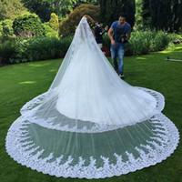 véus bordados marfim do casamento venda por atacado-2020 luxo véu longo apliques de renda borda véu delicado disponível em branco e marfim véu longo