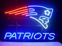 """Wholesale Bar Land - New Eng land Patriots Glass Neon Sign Light Beer Bar Arts Crafts Gifts Sign Size: 17""""X14"""""""