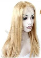 полный парик шнурка 27 цвет оптовых-Роскошные парики Моды Бразилия девственные волосы 100% человека полный парики шнурка шелк бесшовные плотность 150% волос прямые Hairr золотой цвет # 27 KABELL парик