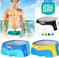 Wholesale Swim Wear Free Shipping - 1pcs mens sexy swimwear swimsuits for man beach swimming wear sea trunks discount swim shorts open sexy free shipping hot