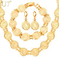 Wholesale European Beads Earrings - Women's Hot European Coin Beads Bracelet Earrings Necklace Set New Arrival 18K Real Gold Plated Vintage Jewelry Set U7 7-NEH5157