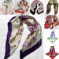 Wholesale Square Scarf Floral Print - In Stock Fashion Women Large Square Silk Scarf Printed 90*90cm Fashion Spring And Autumn Chinese Silk Scarves Cheap Wraps Free Shipping